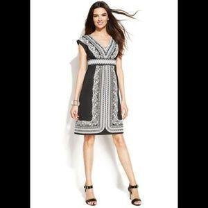 INC International Concepts Printed V-Neck Dress M